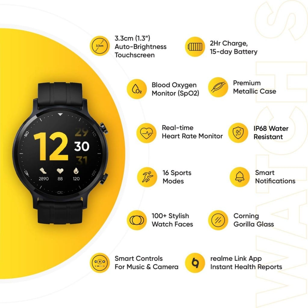 realme Watch S (Black Strap, Regular)